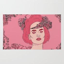 Pink Flower Girl Digital Drawing Rug
