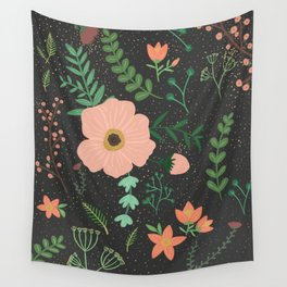 Charcoal Floral Print Wall Tapestry