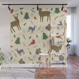 Winter Forest Animals Wall Mural
