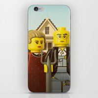 gothic iPhone & iPod Skins featuring American Gothic by powerpig