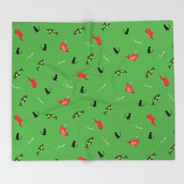 Green Orca and Red Shark and Black Cats Throw Blanket