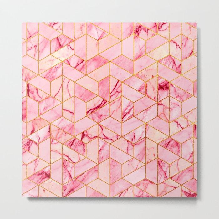 Pink Marble Hexagonal Pattern Metal Print