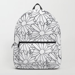 Flower petals drawing in black and white Backpack