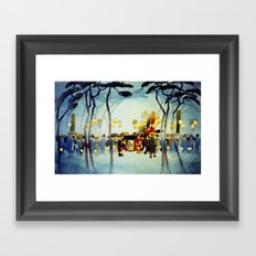 Japanese Covered Litter and Lanterns Framed Art Print