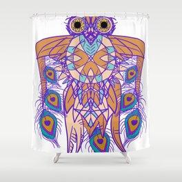 Tribal Peacock Owl Shower Curtain