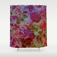 vintage floral Shower Curtains featuring vintage floral by clemm