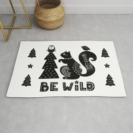 Be Wild Cute Owl And Squirrel In Scandinavian Style Rug