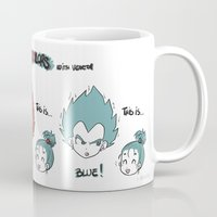 vegeta Mugs featuring Primary Colors with Vegeta by AlyTheKitten