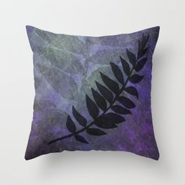 Purple Grunge with Black Foliage Fern Silhouette - Digital Illustration - Artwork Throw Pillow