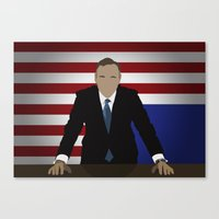 frank underwood Canvas Prints featuring House Of Cards - Frank Underwood by Tom Storrer