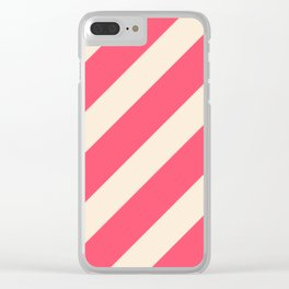 Antique White and Fiery Rose Diagonal Stripes Clear iPhone Case