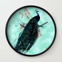 peacock Wall Clocks featuring Peacock by SuzanneCarter