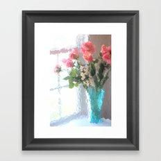 Impressionistic French Aqua Coral Pink Roses Tulips Floral Decor Framed Art Print