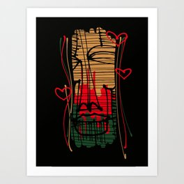 Mask with hearts Art Print