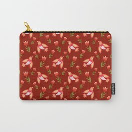 Pretty cute little wild canary birds, red blooming garden tulips, feminine nature flowers dark brown pattern. Hello spring. Gift ideas for tulip lovers. Botanical floral animal artistic design. Carry-All Pouch