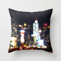 hong kong Throw Pillows featuring HONG KONG by Chernyshova Daryna