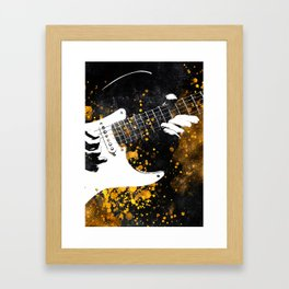 Guitar music art gold and black #guitar #music Framed Art Print