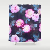 twilight Shower Curtains featuring Twilight Roses by micklyn