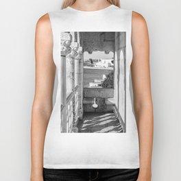 Lisbon Belem tower black white Biker Tank