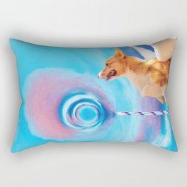 Giant pink cloud lollipop and a flying corgi Rectangular Pillow
