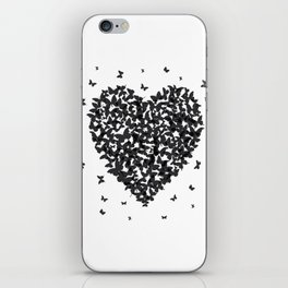 Heart - summer card design, black butterfly on white background iPhone Skin