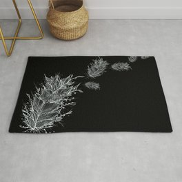 Flying Feathers Black and White Rug