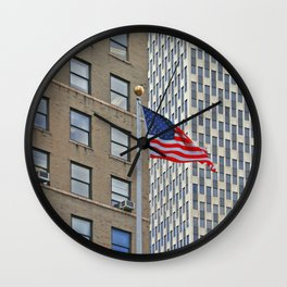New York -Manhatten - Flag Wall Clock