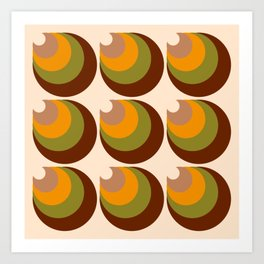 Retro funky 70s 3D cones brown, orange Art Print