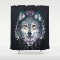 wolf Shower Curtains featuring Wolf by Laura Graves