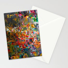 Hebrew Letters on Abstract Painting Stationery Cards