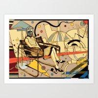 kandinsky Art Prints featuring Bauhaus Kandinsky Mash Up by Sam Parr