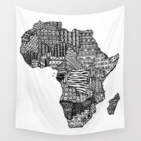 africa Wall Tapestries featuring Africa by Sol Fernandez