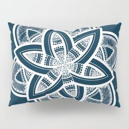 Authentic white mandala on blue Pillow Sham