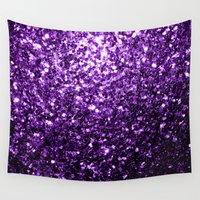 sparkles Wall Tapestries featuring Beautiful Purple glitter sparkles by PLdesign