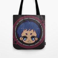 kuroko Tote Bags featuring chibi aomine daiki by Ichigo Kuriimu