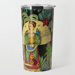 The  Coyoacán Mexican Garden of Casa Azul - Lush Tropical Greenery and Floral Landscape Painting Travel Mug