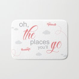 OH THE PLACES YOU'LL GO - AIRPLANE PINK AND GREY Bath Mat