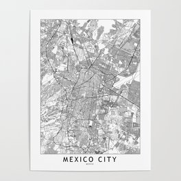 Mexico City White Map Poster
