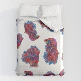 Ocean Theme- Red Blue Betta Fish Duvet Cover