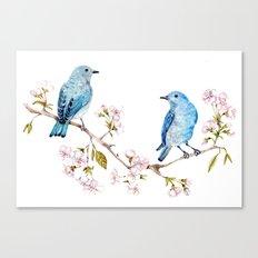 Mountain Bluebirds on Sakura Branch Canvas Print