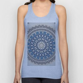 Bright Blue Marble Mandala Design Unisex Tank Top