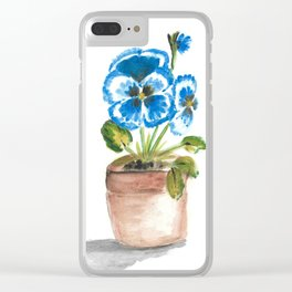 Blue pansy flowerpot Clear iPhone Case