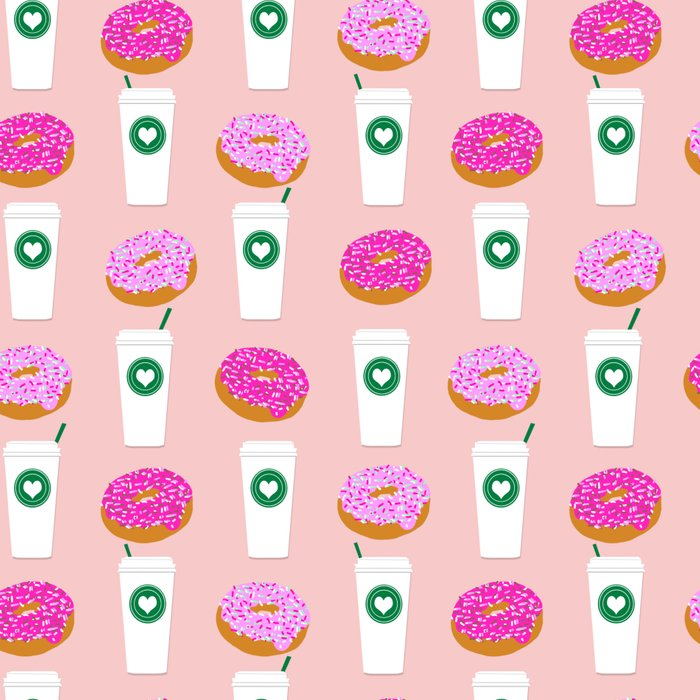 Coffee and donuts cute latte breakfast food pattern print pastel pink girly coffee cell phone cases Leggings