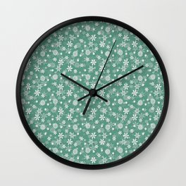 Christmas Green Holly and Ivy Snow Flakes Wall Clock