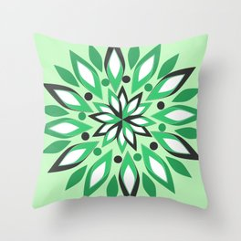 Abstract vegetation in green Throw Pillow
