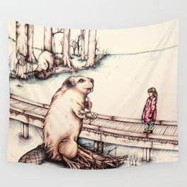 The Girl & The Beaver (or, Is It Alright if I Take Notes?) Wall Tapestry