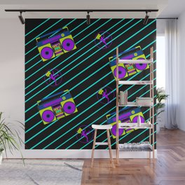Graphic Design Pattern Boombox Cassette Tape 80s Neon Colors Wall Mural