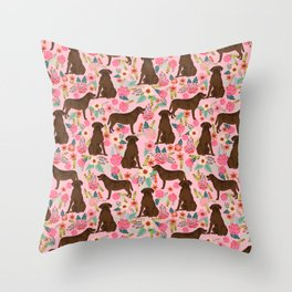 Chocolate Labrador Retriever dog floral gifts must haves chocolate lab lover Throw Pillow