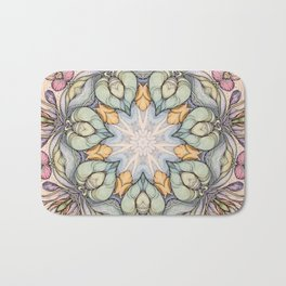 vintage flowers hand drawn and  kaleidoscope mandala Bath Mat