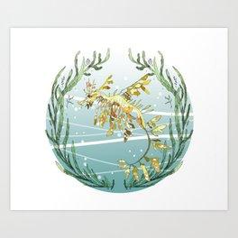 Leafy Seadragon in Gold Art Print